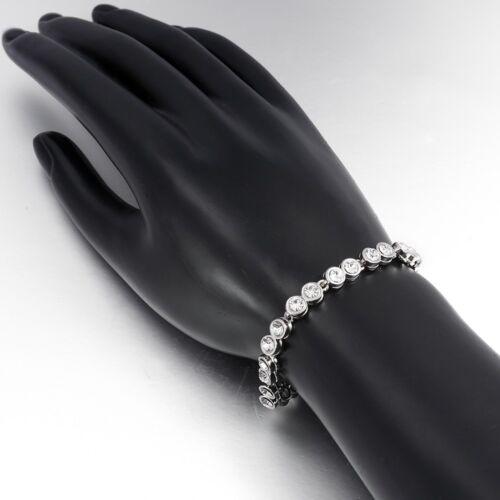 """Femme 14K Blanc Cristal Plaqué Or créé Lien Tennis Bracelet 7.5/"""""""