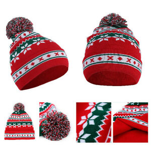 eacf8a11d29 Image is loading UNISEX-WINTER-POMPOM-BALL-CHRISTMAS-SNOWFLAKE-BEANIE-HAT-