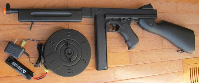 Airsoft Auto Electric Rifle Thompson M1a1 Tommy Gun W/2 Magazine 320 FPS  Black