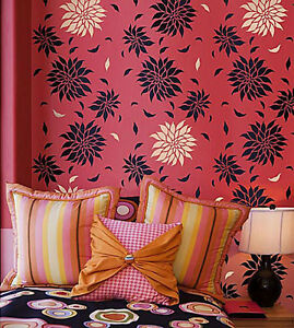 Details About Dahlia Allover Wall Stencil Diy Reusable Wall Stencils Floral Home Decor