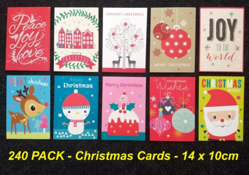 240 Pack Assorted Christmas Cards 14 x 10cm