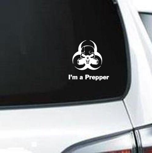 A241 I/'m A Prepper GAS mask Radiation Doomsday vinyl decal laptop car truck van