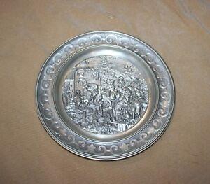 German SKS Artina 95% Zinn Ornate Pewter Wall Decor Plate Village ...