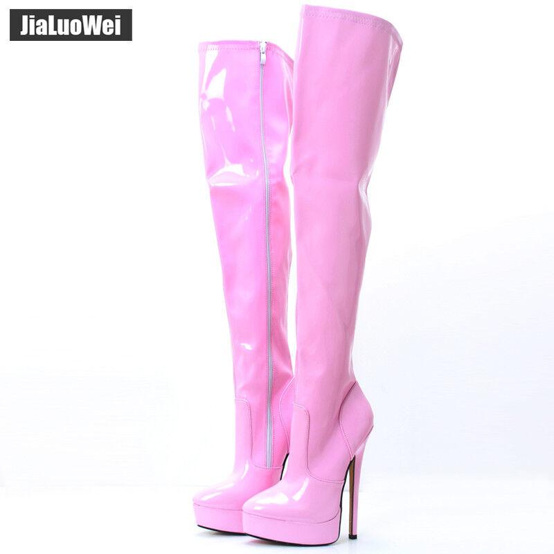 18cm Stiletto Plattform Lackleder sexy Damen Overkneestiefel high heels Stiefel