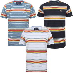 Tokyo-Laundry-Men-039-s-Lowell-Crew-Neck-Striped-T-Shirt-Stripy-Retro-Rainbow-Top