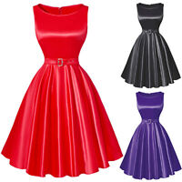 Plus Size Vintage Sexy Women Sleeveless Cocktail Party Evening 50s Swing Dress