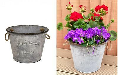 e2e Round 24cm Covent Garden Galvanised Zinc Metal Tin Plant Flower Planter Pot