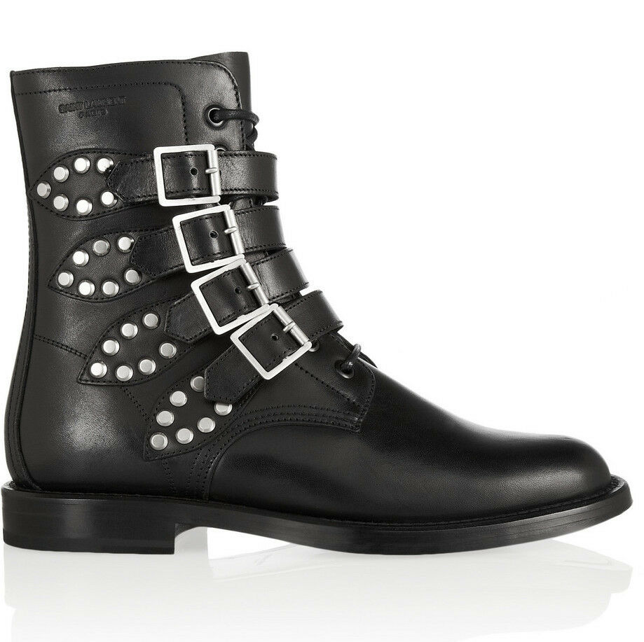 Saint Laurent Rangers Studded Leather Boots in Black Size 36.5 - MSRP $1,395