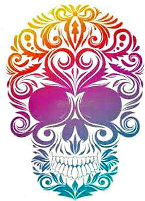 20 water slide decals colorful sugar skull trending 3/8 inch