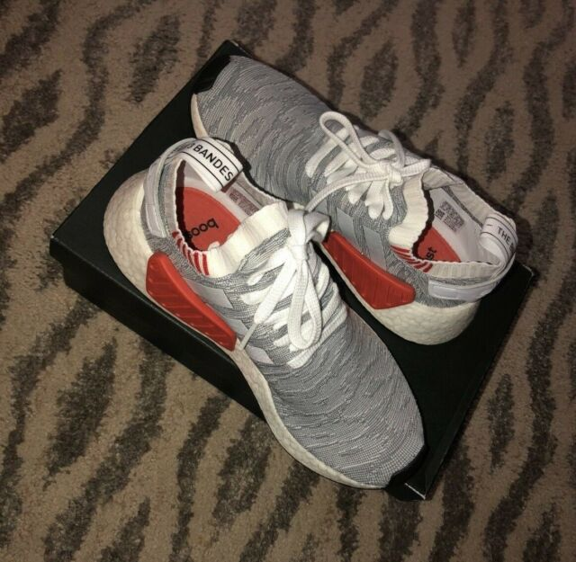 quality design 390b6 219b1 ADIDAS NMD_R2 Primeknit Shoes Women's Sz 8/Men Size 6 White/Gray/Orange  #BY9410