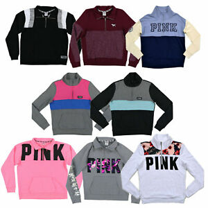 Victoria-039-s-Secret-Pink-Sweatshirt-Quarter-Zip-Pullover-Graphic-Long-Sleeve-New