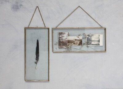 Gigantic Zinc Picture Photo Frame Landscape Nkuku Kiko Clear Glass Double Sided