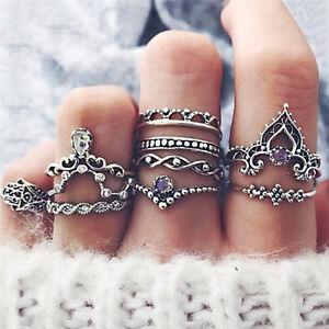 10-x-bohemio-Vintage-anillo-conjunto-encanto-hueco-geometrica-FatFWS