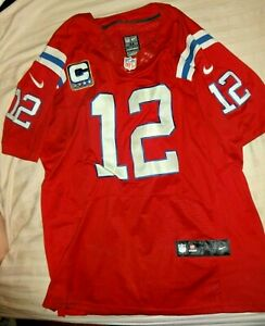 Details about Tom Brady #12 Patriots AUTHENTIC SEWN NIKE On Field NFL Captain Jersey Red 44