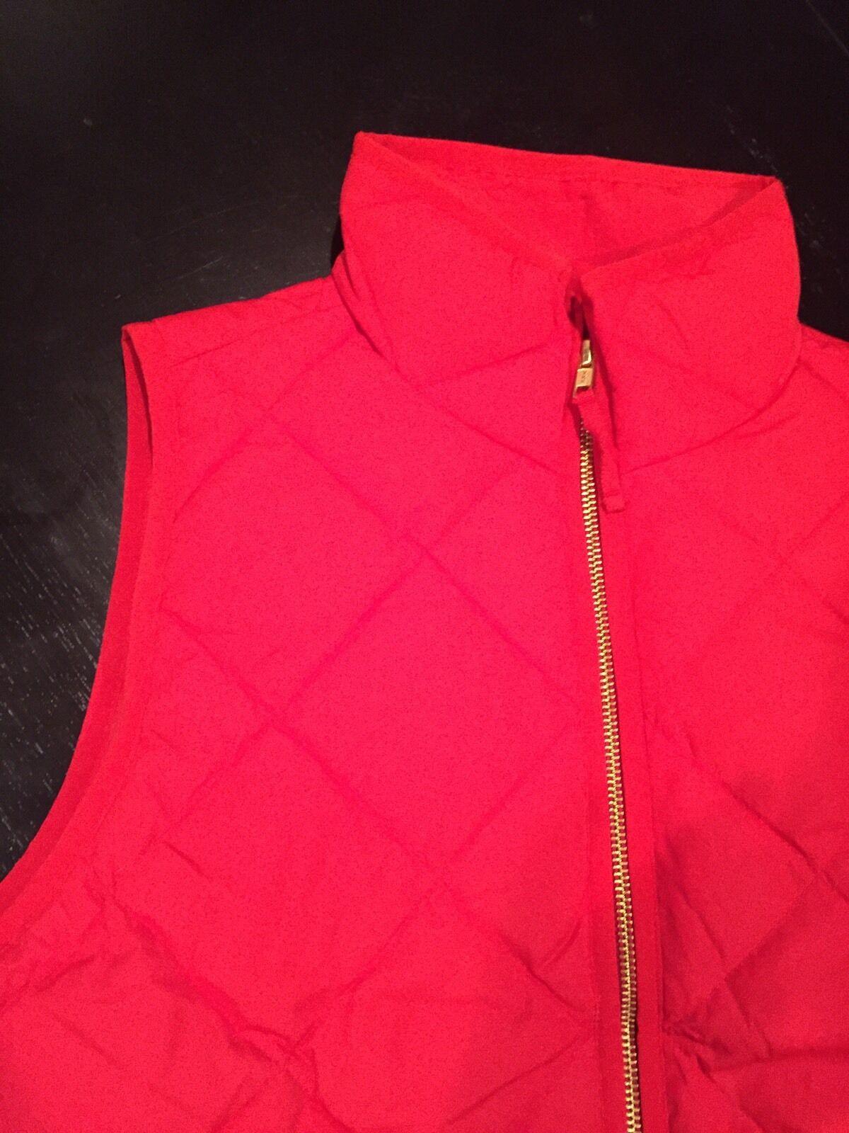 J.CREW Xxs NEW Excursion Vest Dark Poppy Red Quilted Down Puffer NWT Xxs
