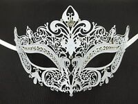 White Crystal Crown Laser Cut Venetian Mask Masquerade Metal Filigree