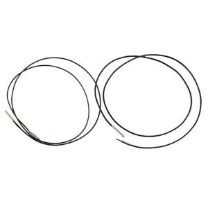2pcs cordon en cuir noir chaîne 1mm collier rond avec fermoir à