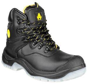 Uomo Pu Amblers Black Sicurezza Cap impermeabile Scuff pelle Heel Boot in Fs198 axBx4qF