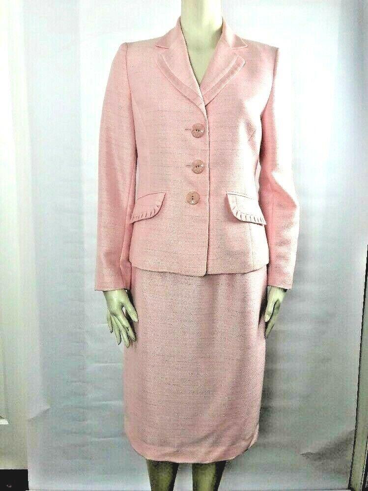 Nipon boutique Womens 6 Pink Button Front Blazer & Pencil Straight Skirt Suit