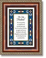"""7"""" x 9"""" Tabletop or Wall Framed Art Print ~ For My Husbandwith Verse"""