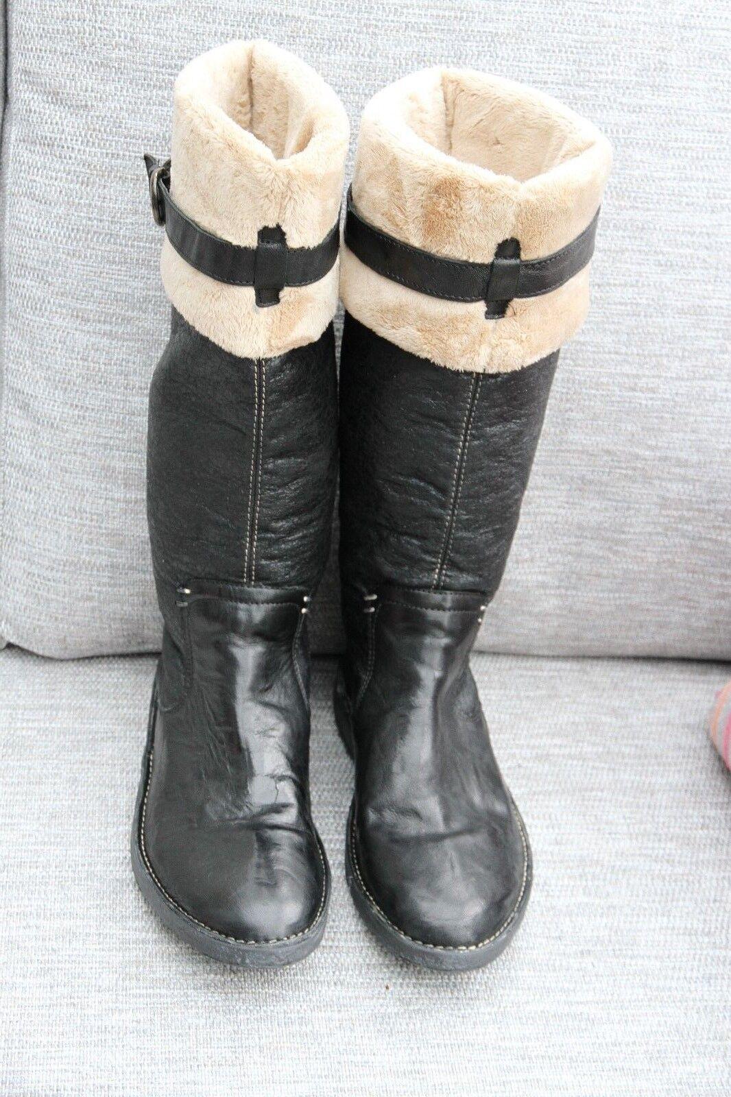 Nouveau khiro noir à enfiler en cuir cuir cuir de Mollet Plates Hauteur Bottes Faux Fourrure Doubleure Taille 5 589d57