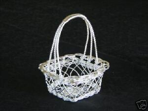 Small Square Silver Wire Basket  Shower Party Favor