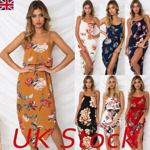 939f41dbe93 Image is loading UK-Womens-Holiday-Strappy-Midi-Dresses-Ladies-Summer-