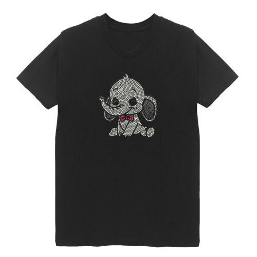 White Elephant Stone Women/'s V Neck T-Shirts Plus Size Bling Cotton Cute Animal