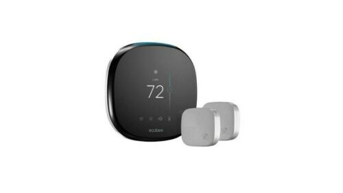 Ecobee4 Wi-Fi Thermostat with 2 Room Sensor and Built-In Alexa Black Ecobee
