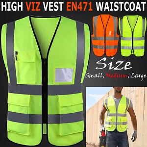 Hi Vis Vest Yellow Green High Viz Visibility Waistcoat Safety Work