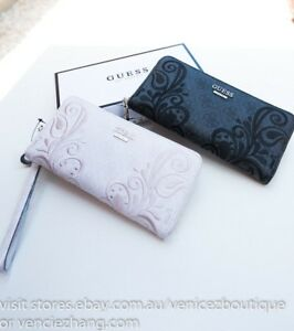 BNWT-RRP-95-GUESS-ARIANNA-Embroidery-Zip-around-Wallet-Clutch-Purse-Coal-Cement