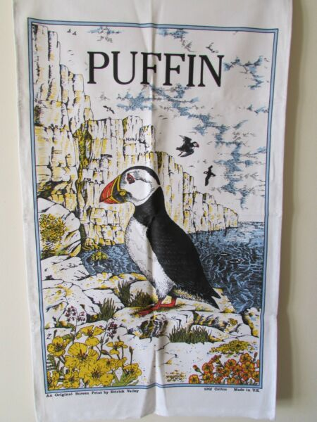 'puffin' Cotton Tea Towel / Original Screen Print By Ettrick Valley [uk] Rare. Precio Moderado