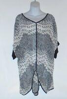 Cj Banks Women's Plus Size Sheer Embellished Top Black & White 2x (20-22w)