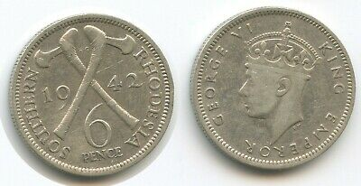 SOUTHERN RHODESIA SILVER 6 PENCE COIN 1944 YEAR KM#17a GEORGE VI