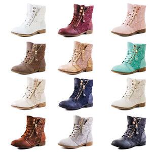 94c1be133aa0 Das Bild wird geladen Neu-Damen-Worker-Boots-Schnuer-Stiefeletten-Schuhe -Groesse-