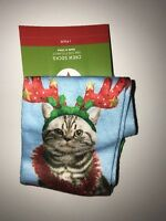 Target Women's Crew Socks don't Get Your Tinsel In A Tangle Cat One Size