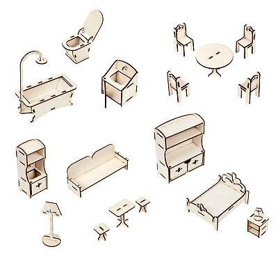 Weiß 112 Puppenhausmöbel Tisch Stuhl Kabinett Zubehör