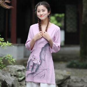 Chinese-Traditional-Tops-Women-Linen-Shirt-Summer-Blouse-Size-M-3XL