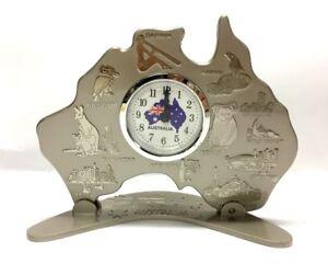 Australia-Map-Clock-w-Movement-Australia-Souvenir-Clock-Australian-Gift-Silver