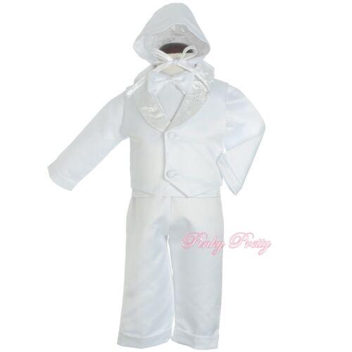 White 4 Pcs Satin Baptism Christening Outfit Formal Suit w// Hat Age 0-18m CN011