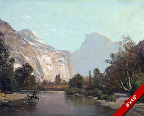 Yosemite Park Half Dome River Scene Painting Art 8X10 REAL CANVAS GICLEE PRINT