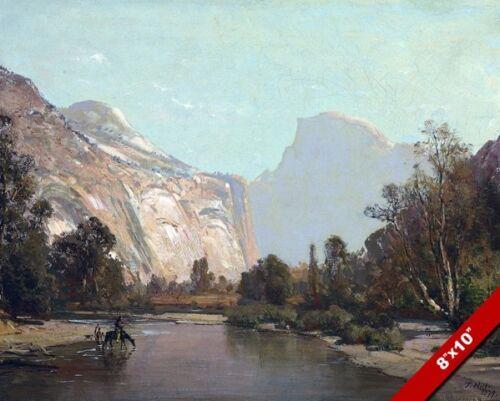 Yosemite Park Half Dome River Scene Painting Art 8X10 REAL CANVAS GICLEE PRINT