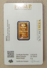 Pamp Suisse 5 Gram 24K .9999 Pure Gold Bullion Art Bar