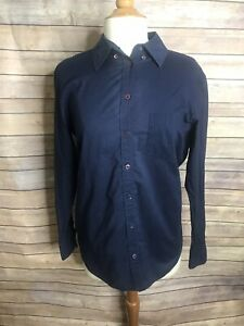 Equipment-Size-XS-Navy-Blue-Cotton-Button-Down-Long-Sleeve-Shirt-Blouse-Collar