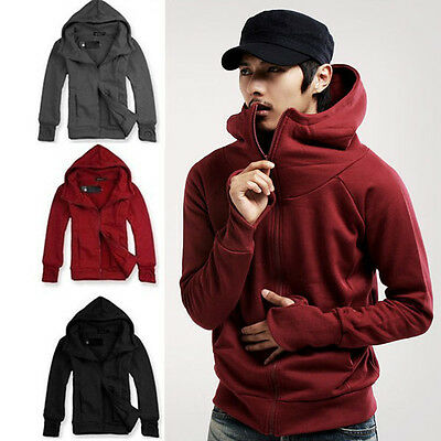 Mens Casual Zip Up Hoodie Hooded Sweatshirt Jumper Coat Jacket Outwear Tops