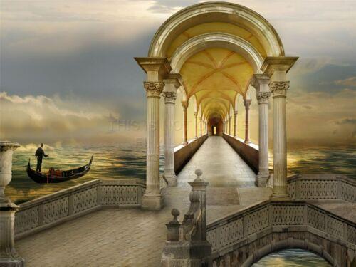 ART PRINT POSTER PHOTO COLLAGE VENICE GONDOLA BRIDGE COLUMS SEA LFMP0068