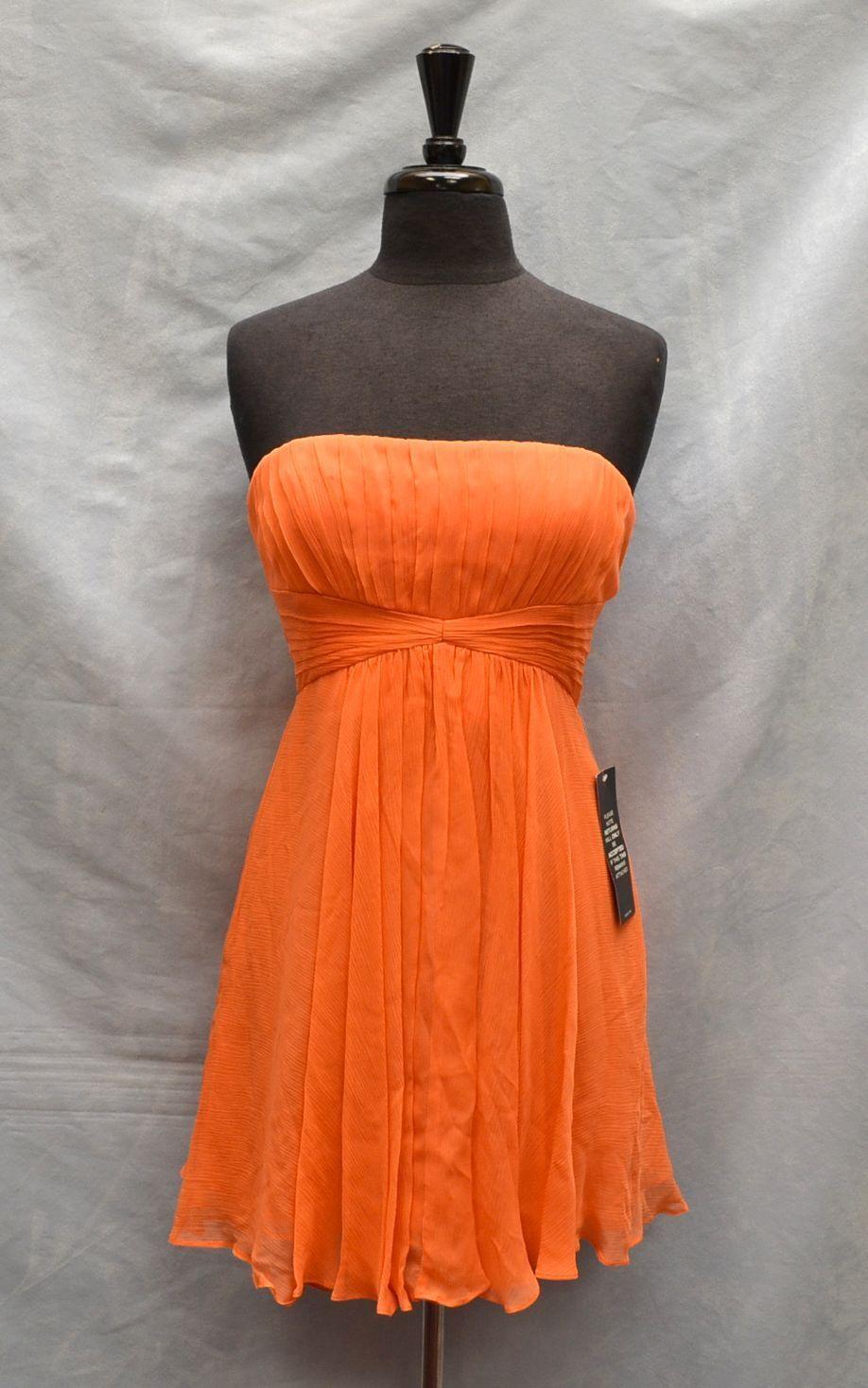 NEW BCBG MAXAZRIA Duran Melon Orange Silk Strapless Cocktail Dress Größe 10