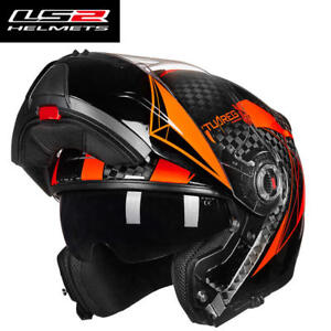 9a5bdf4a LS2 FF394 12k Carbon Fiber Flip Up Motorcycle Helmet Anti-fog Len ...