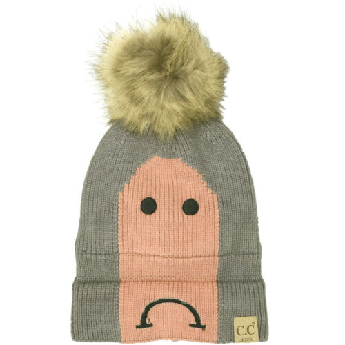 CC Kids Fleeced Lined Smiley Face Ages 1 to 5 Soft Thick Knit Beanie Hat