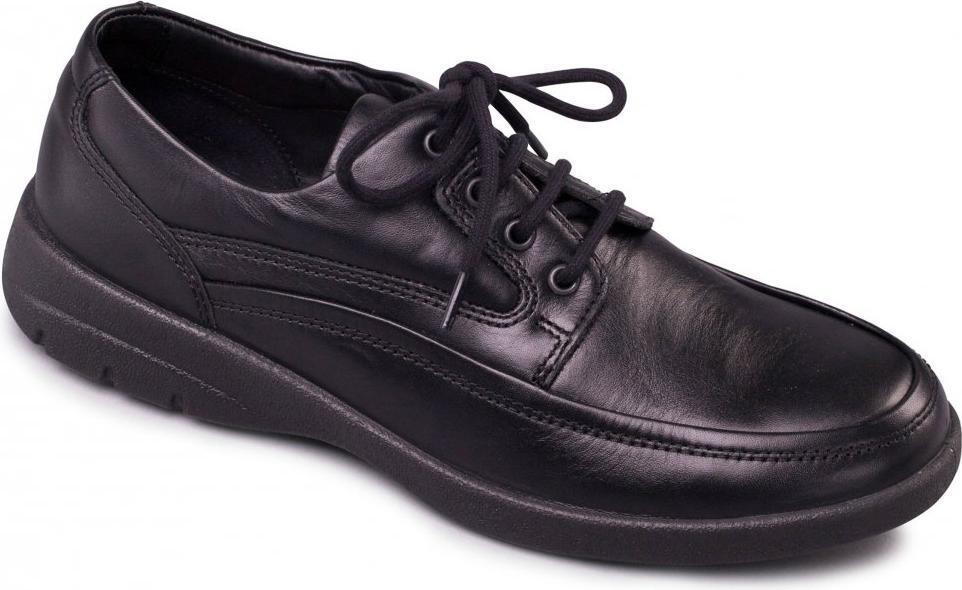 Padders FIRE Mens Soft Leather Standard F Lace-Up Smart Casual Comfy Shoes Black